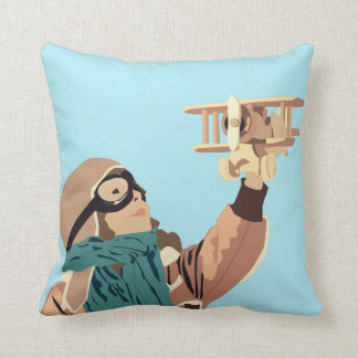 Young Girl with Wooden Plane Pillow