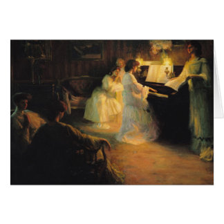 Young Girls at a Piano, 1906 Card