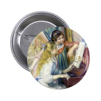 Young Girls at Piano by Renoir, Impressionism Art 2 Inch Round Button