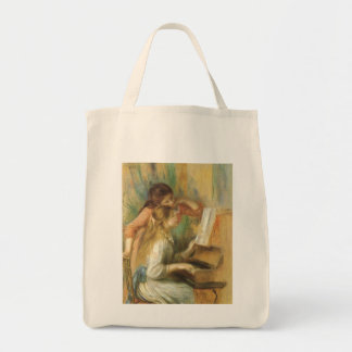 Young Girls at Piano by Renoir, Vintage Fine Art Canvas Bags