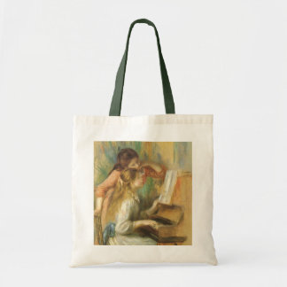 Young Girls at Piano by Renoir, Vintage Fine Art Tote Bag
