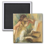 Young Girls at Piano by Renoir, Vintage Fine Art Square Magnet