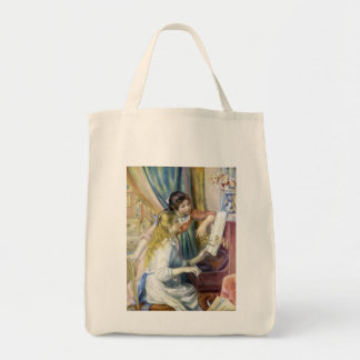 Young Girls at the Piano by Pierre Renoir Grocery Tote Bag