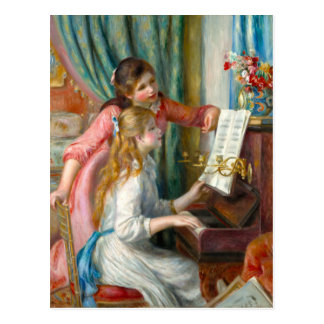 Young Girls at the Piano Impressionism Renoir Postcard