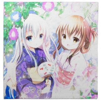 Young Girls In Yukata Napkin