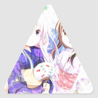 Young Girls In Yukata Triangle Sticker