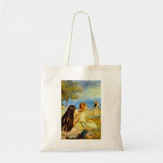 Young girls seaside beautiful Renoir painting art Budget Tote Bag