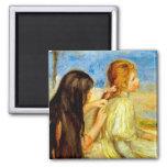 Young girls seaside beautiful Renoir painting art Magnets