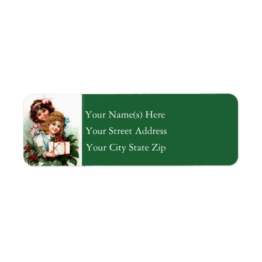 Young Girls With Gift Vintage Christmas Return Address Label