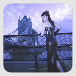 Young Goth woman at Tower Bridge, London Square Sticker