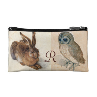 Young Hare (Rabbit ) and  Owl Monogram Cosmetics Bags