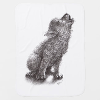Young Howling Wolf Baby Blanket