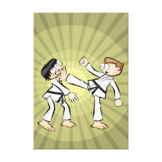 Young karate practicing the attack with a kick canvas print