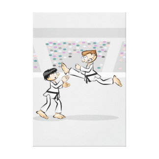 Young karate showing its great ability canvas print