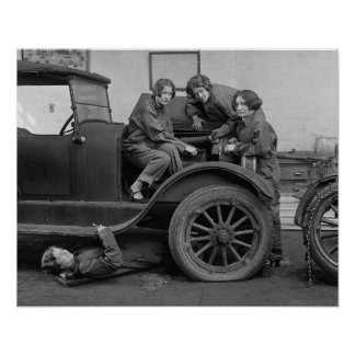 Young Lady Auto Mechanics, 1927. Vintage Photo Poster
