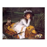 Young Lady & Her Pet Pug in a Boat by James Tissot Post Cards