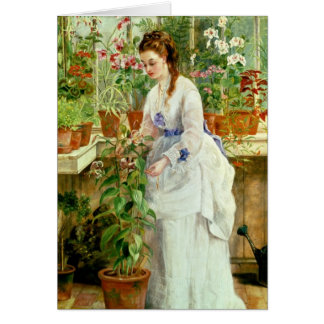 Young Lady in a Conservatory Card