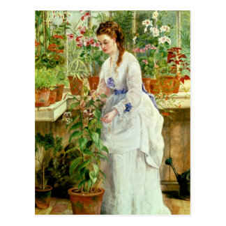 Young Lady in a Conservatory Postcard