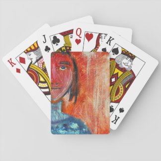 Young Lady in Orange Playing Cards