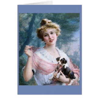 Young Lady & Mischievous Puppy, Card