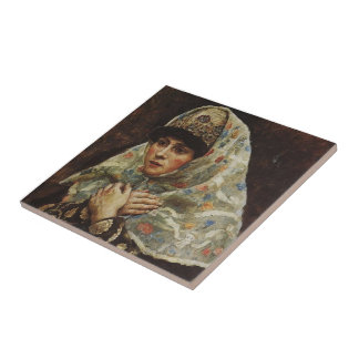 Young lady with her arms folded by Vasily Surikov Tile
