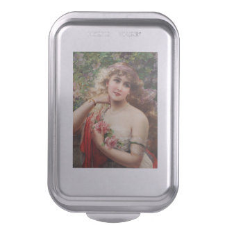 Young Lady With Roses by Emile Vernon Baking Pan