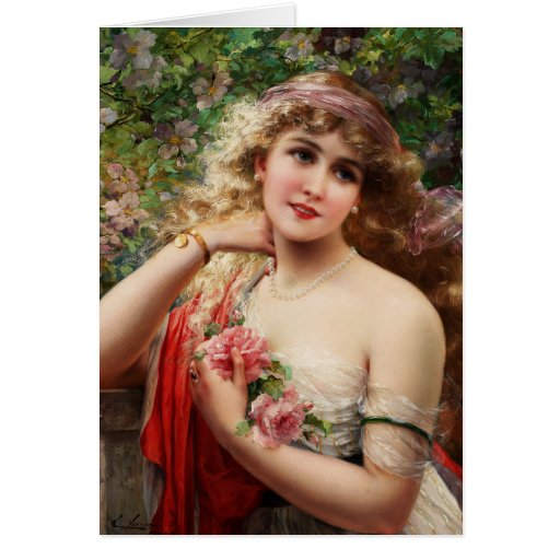 Young Lady With Roses Greeting Cards