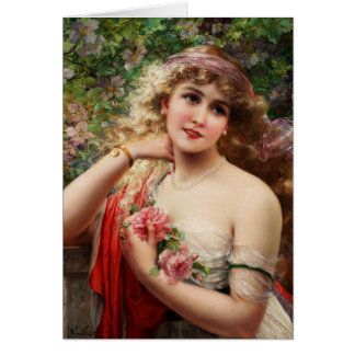 Young Lady With Roses Greeting Card