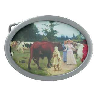 Young ladys walk among herd of cow by Ilya Repin Oval Belt Buckle