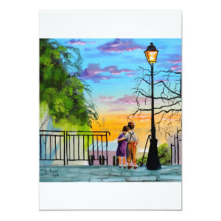 """""""Young Love"""" kids in Paris landscape painting Card"""