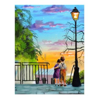 """Young Love"" kids in Paris landscape painting Personalized Letterhead"