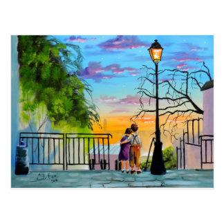 """Young Love"" kids in Paris landscape painting Postcard"