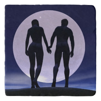 Young lovers by night - 3D render Trivet