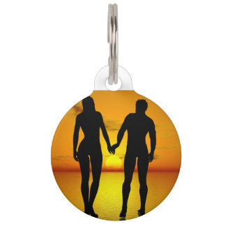Young lovers by sunset pet ID tag