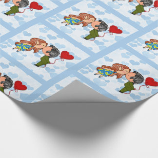 Young Lovers Kissing with Red heart Balloon Wrapping Paper