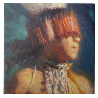 Young Maidu Dancer Ceramic Tile