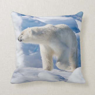 Young Male Polar Bear Throw Pillow
