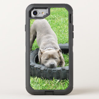 Young Male Staffy Playing With His Tyre, OtterBox Defender iPhone 8/7 Case