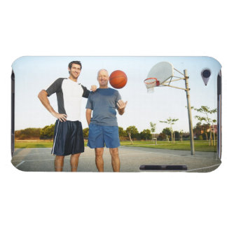 Young man and senior man on outdoor basketball barely there iPod covers