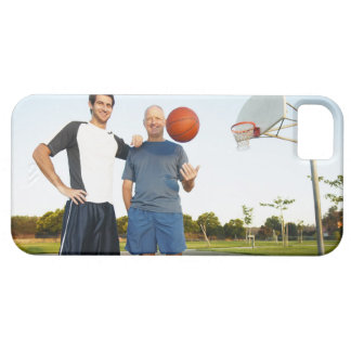 Young man and senior man on outdoor basketball iPhone 5 cases