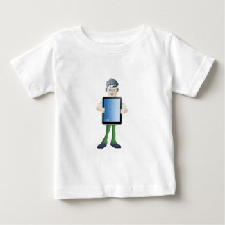 Young man cartoon holding i-pad baby T-Shirt