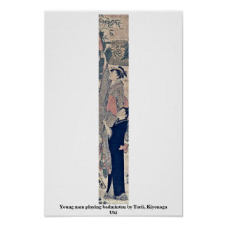Young man playing badminton by Torii, Kiyonaga Uki Poster
