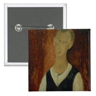 Young Man with a Black Waistcoat, 1912 (oil on can 2 Inch Square Button