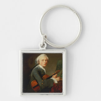 Young Man with a Violin Silver-Colored Square Keychain