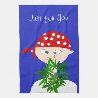Young Man with Weed Bouquet Personalized Kitchen Towel