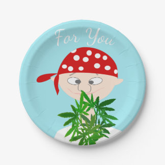 Young Man with Weed Bouquet Personalized Paper Plate