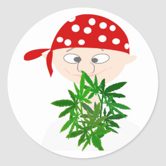Young Man with Weed Bouquet Personalized Round Sticker