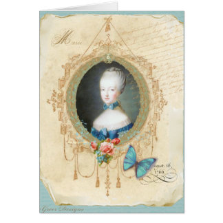Young Marie Antoinette Butterfly Art Print Greeting Card