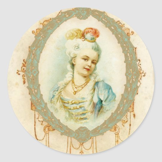 Young Marie Antoinette Portrait Round Sticker