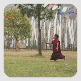 Young monk and prayer flags stickers